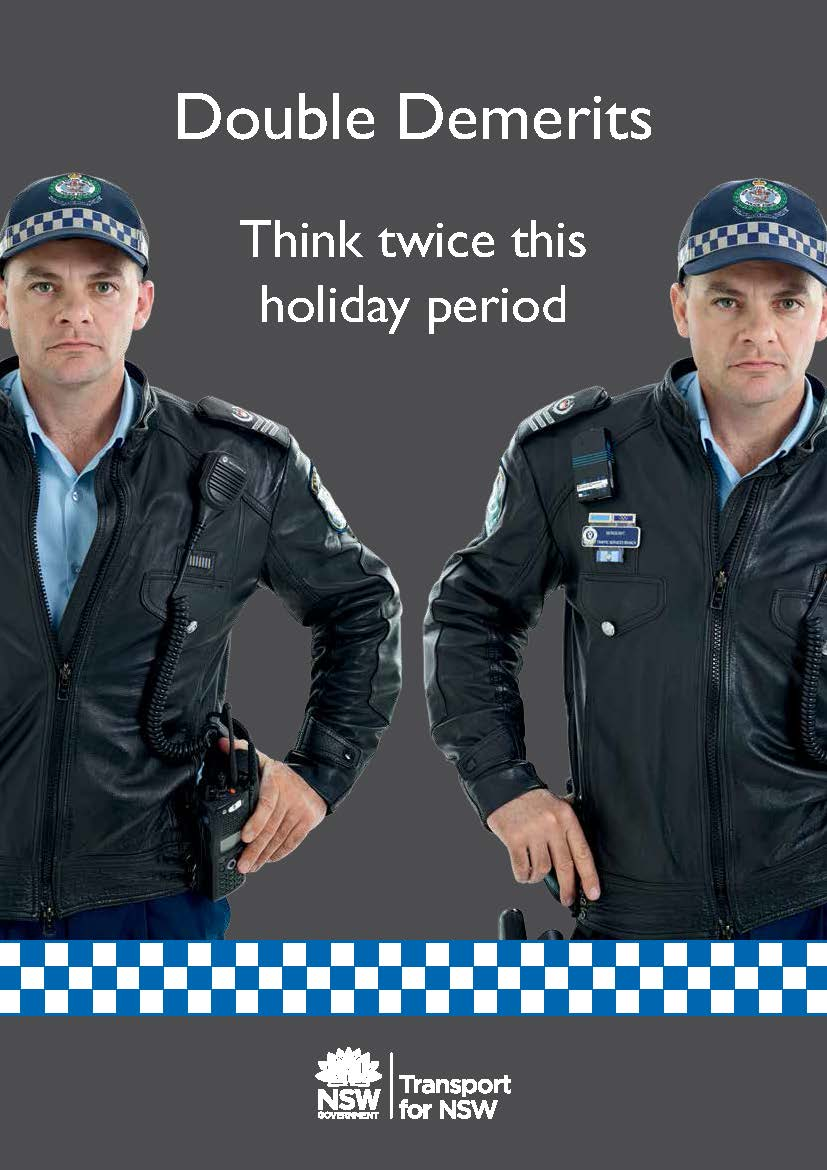 double demerit points apply for speeding offences and not wearing a seatbelt during certain holiday periods and long weekends
