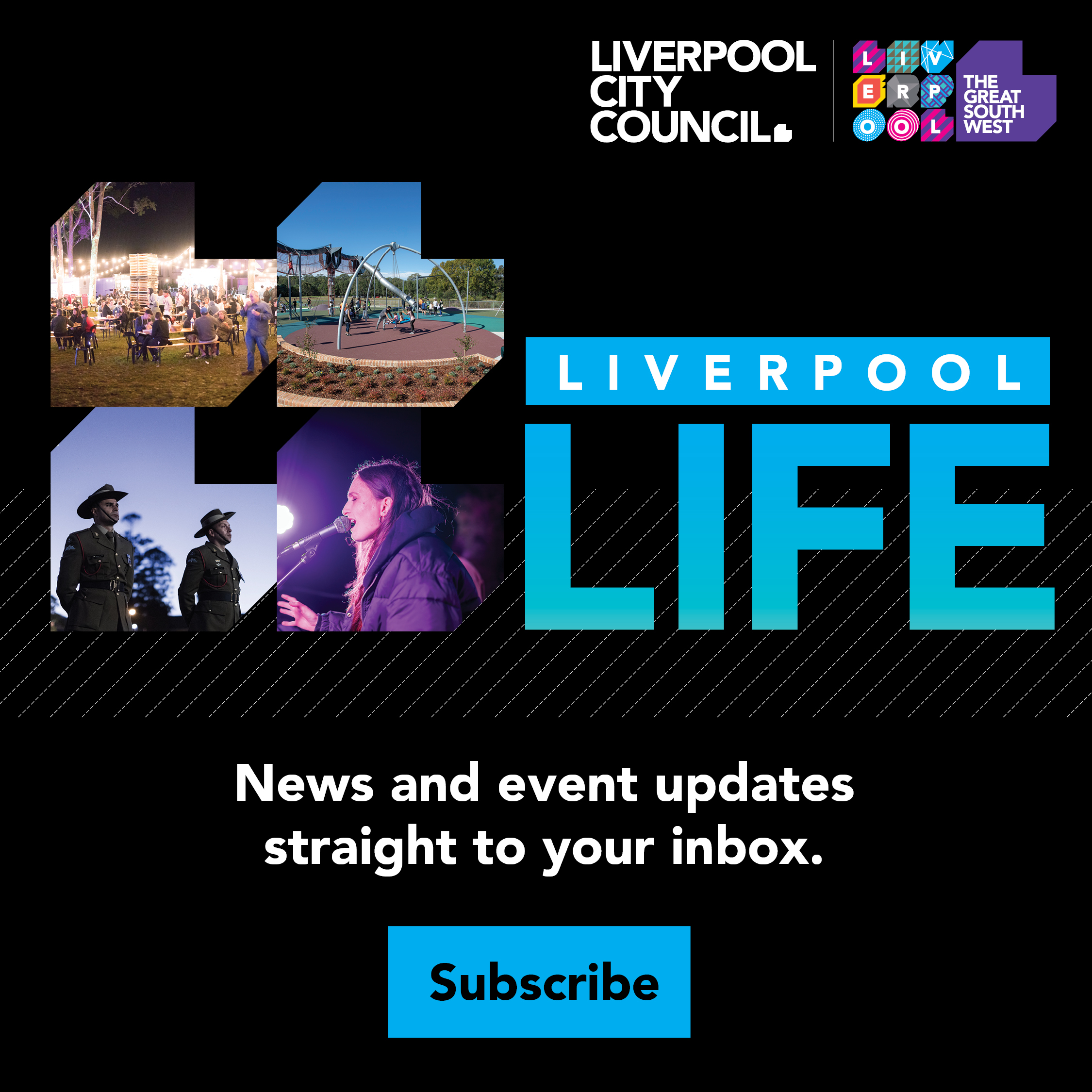 An image of a flier used to advertise Liverpool Life, a service that sends email updates straight to your email.