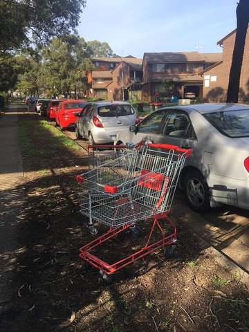 Abandoned shopping trolleys near some apartments.