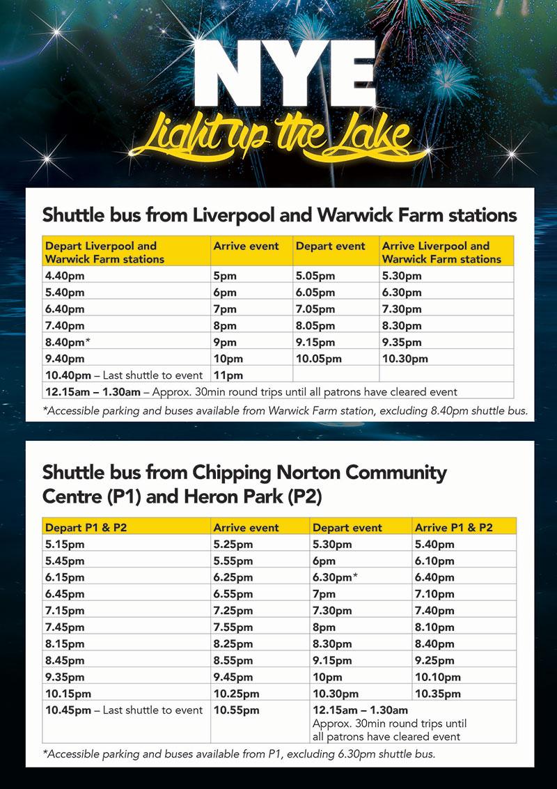 NYE Shuttle bus timetable