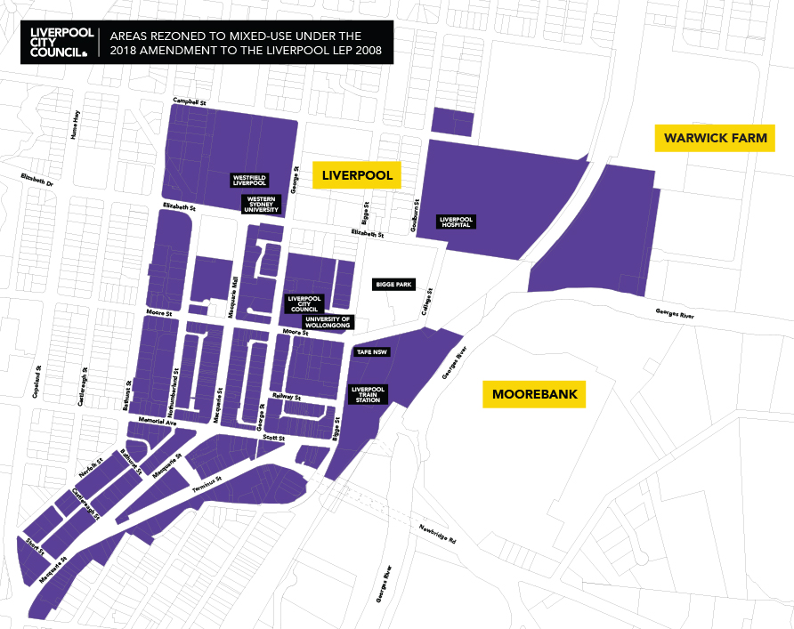 Map graphic showing areas in Liverpool city centre rezoned to mixed-use in 2018.