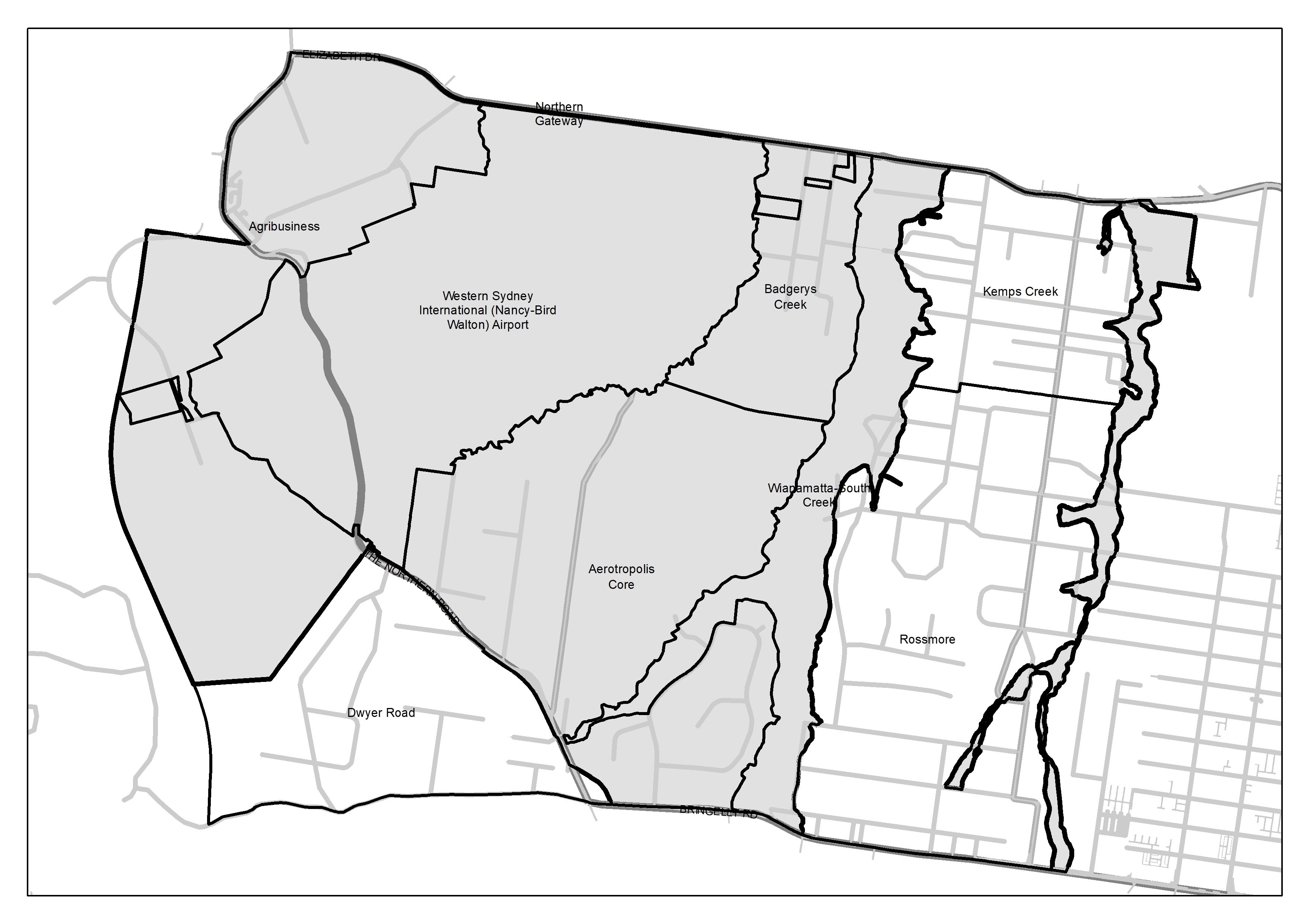 Map indicating land within the Western Sydney Aerotropolis subject to the Development Control Plan Phase 1.