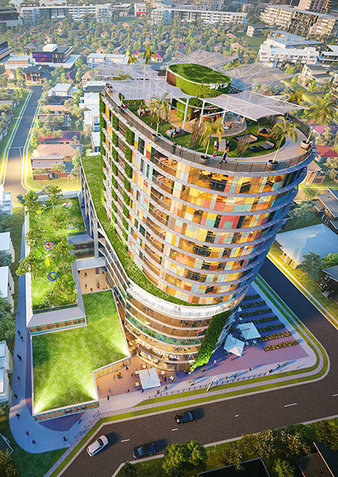 Artists impression of an aerial view of a building int the Liverpool CBD.
