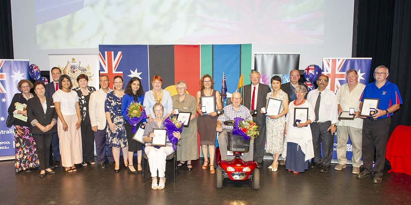 The Mayor with recipients of the Australia Day Awards