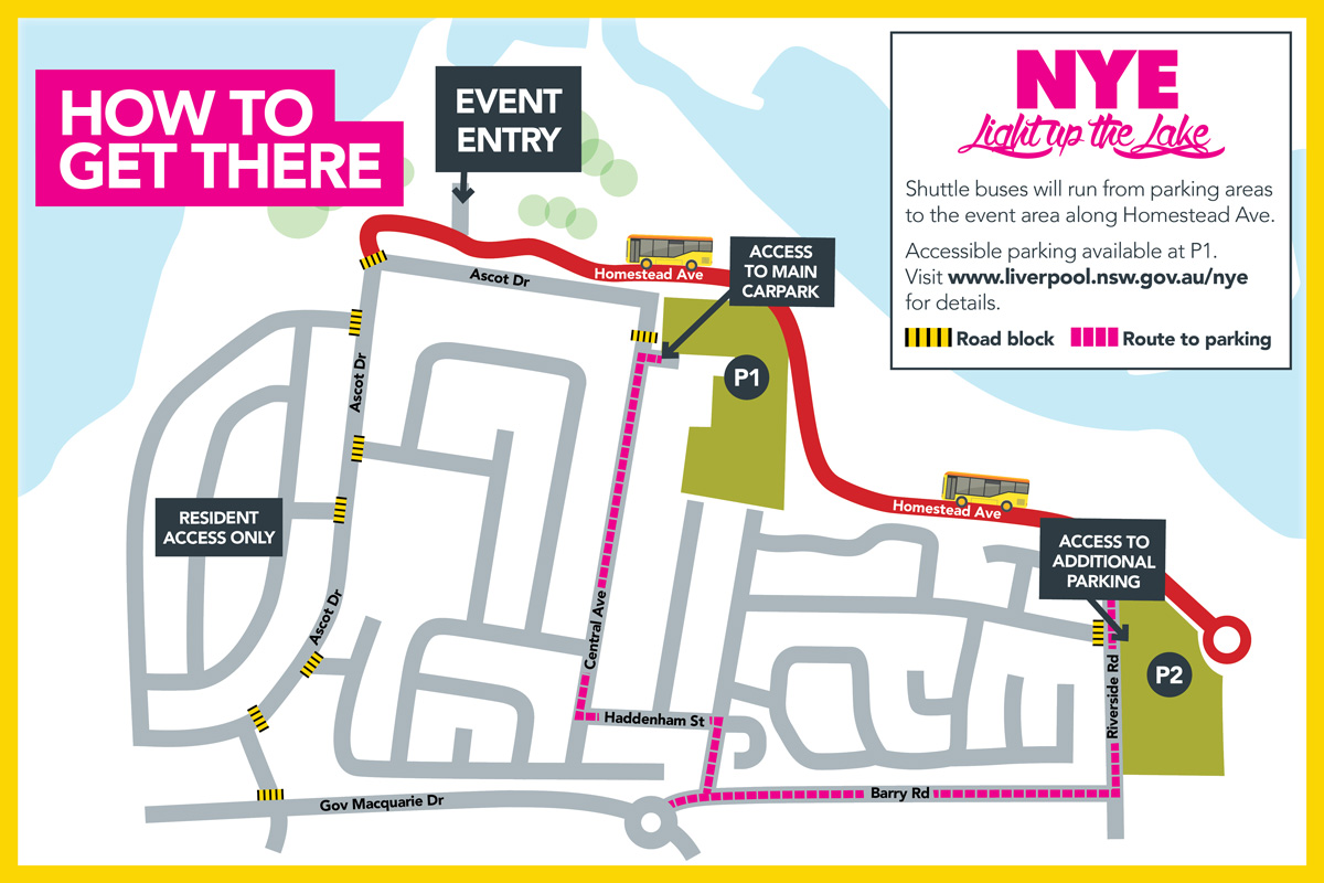 Map for access to parking at Council's New Year's Eve event, Light Up the Lake.