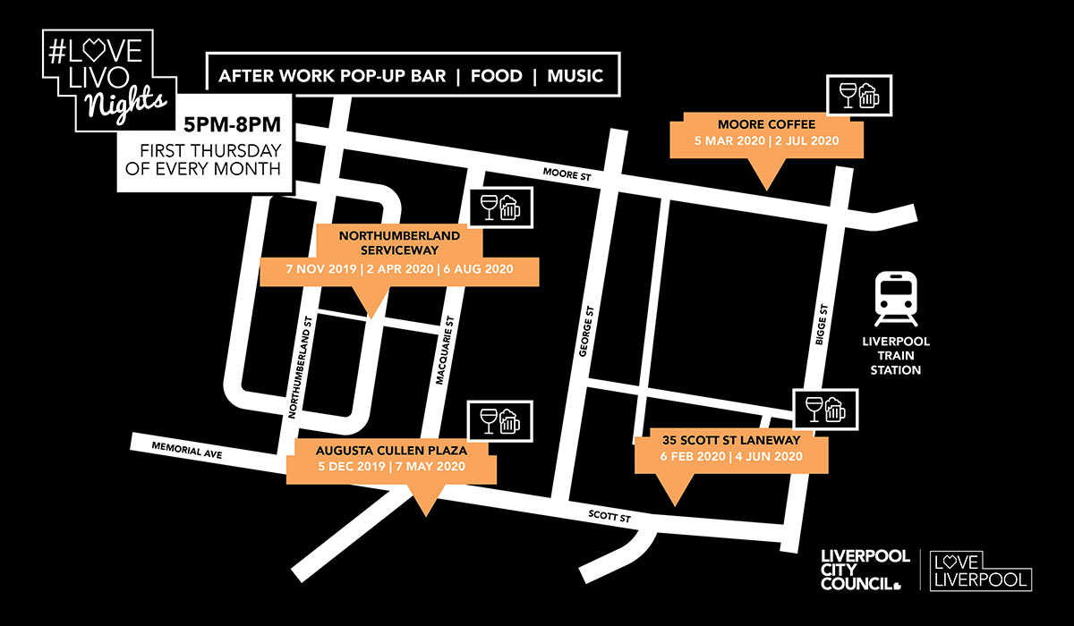Map illustrating locations of Love Livo Nights events in Liverpool CBD