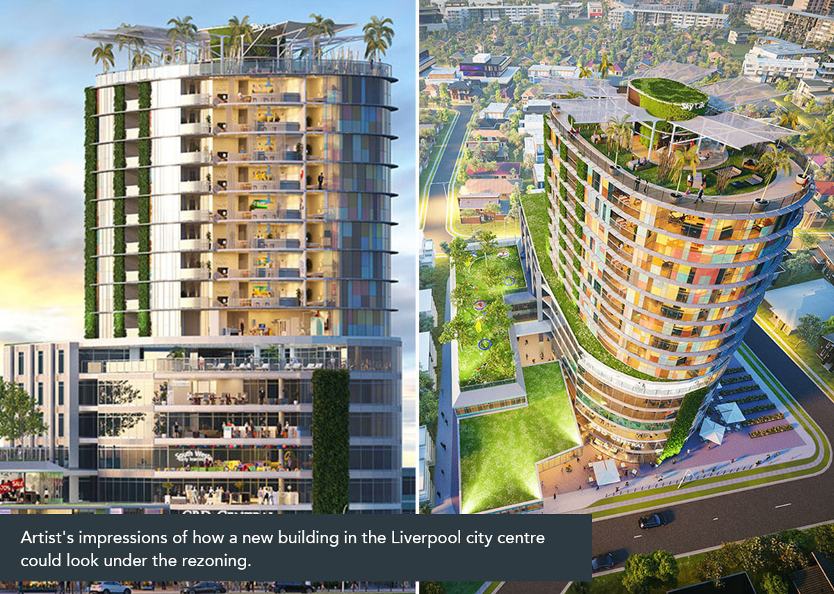 Artist's impressions of how a new building in the Liverpool city centre could look under the rezoning.